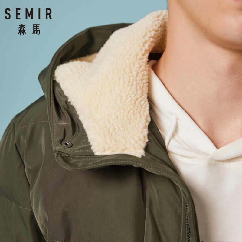SEMIR الرجال مبطن مبطن معطف مقنع مع البريدي و المفاجئة إغلاق معطف البخاخ مع الصوف اصطف هود مع جيب مفتوح التضليل في Cuffs