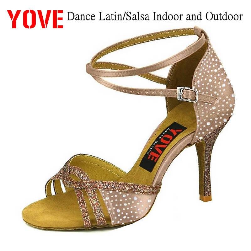 Chaussures de danse YOVE w1611-43 avec strass Bachata/Salsa chaussures de danse pour femmes d'intérieur et d'extérieur
