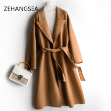 ZEHANGSEAWomens Long Cashmere Coat simple Monochrome Thick autumn and Winter coat Hot sale