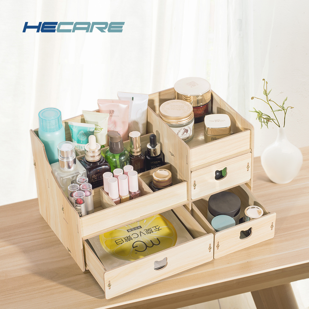 3 Styles Available Wood Eco-friendly Wooden Makeup Box Organizer Large Capacity Cosmetic Home Storage for Cosmetics
