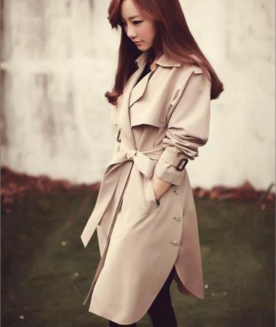 2016 nueva primavera de la moda/Casual de las mujeres Gabardina larga Ropa de Abrigo ropa suelta para dama de buena calidad XD036