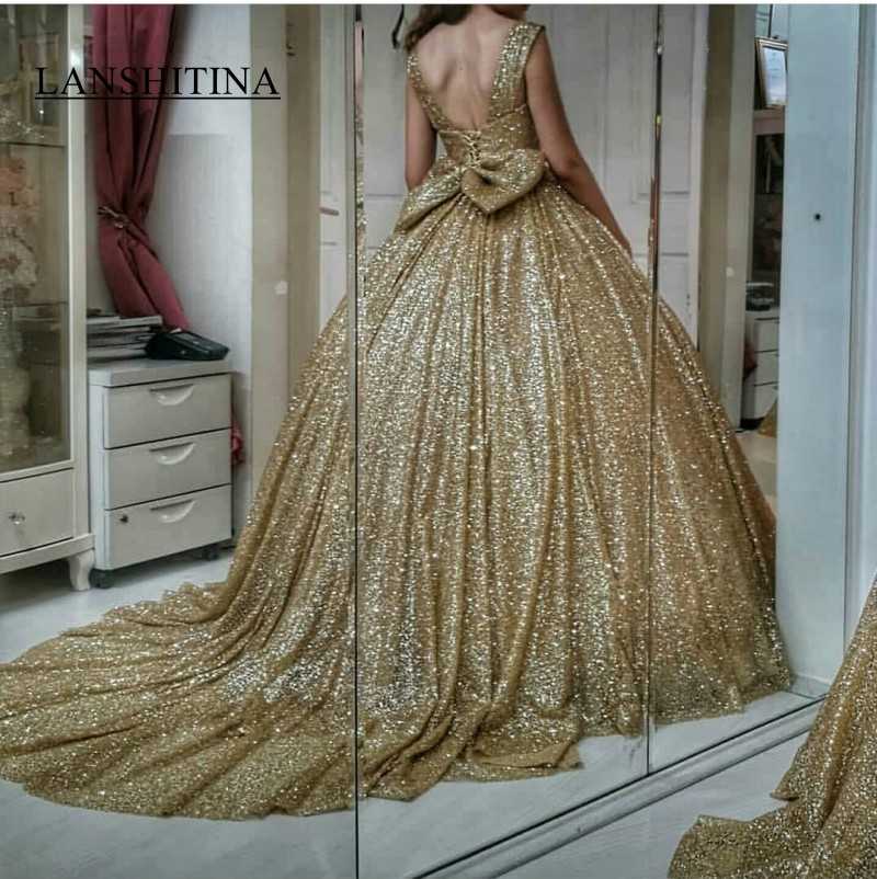 Bling Bling Gold Sequin Wedding Dresses Ball Gown Bow