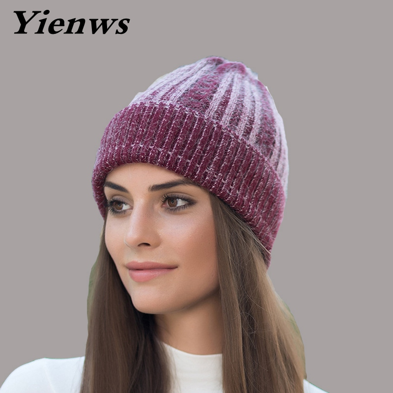 Yienws Women Skullies And Beanies Autumn Winter Hats Warm Rabbit Fur Knitted Beanies Thick Wool Skullies Female Hat YIC566 skullies