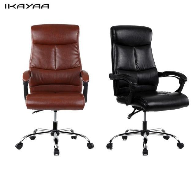 Office Chair High Back Club Chairs With Ottoman Ikayaa Adjustable Ergonomic Pu Leather Executive Furniture Us De Stock