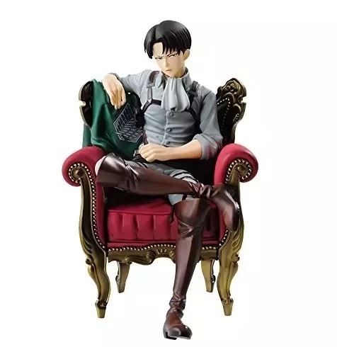 12CM pvc Japanese anime figure Attack on Titan Levi Ackerman soldier sofa sitting version action figure collectible model toys