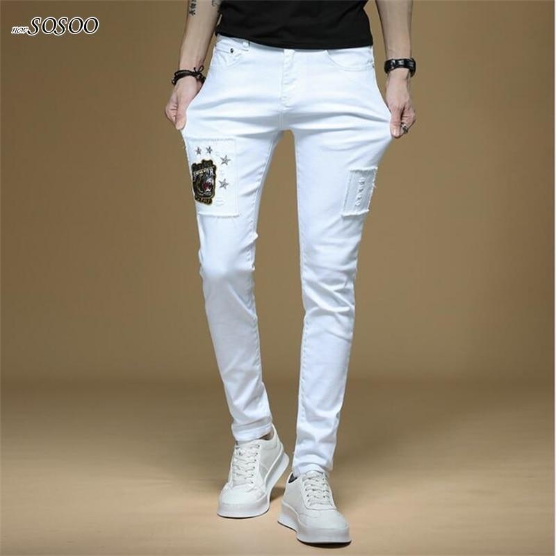 New Men Jeans Patches 100% Cotton White Denim Skinny Jeans Men Korean Style Fashion Men Jeans #1310