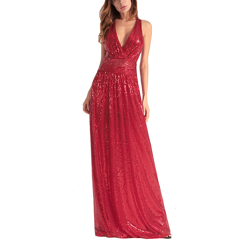 SCECENT Women Dress Sexy Elastic Sequin V Collar Exposed Dresses for Women Party Evening Special Occasion Fitted Female Dress