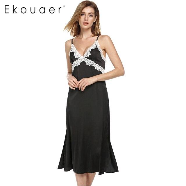 Ekouaer Атласная ночная рубашка с длинными Женщины Атласные Кружева Пижамы Не Цепляться Полный Скольжения с Регулируемыми Ремнями Черный Рубашки
