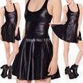 E7 Otoño Vestido de Piel de Imitación de Cuero Wet Look Vestido Skater Vestido Plisado Vestidos Negro Mujeres de Talla grande Ropa XXL XXXL