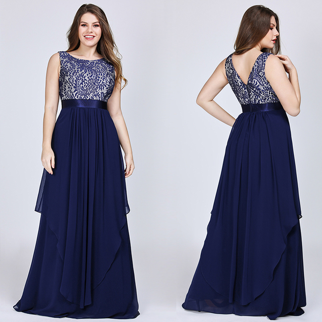 New Arrival Ladies Long Evening Dresses 2019 Elegant Sleeveless O-Neck Lace Plus Size Formal Gowns Chiffon A-line Robe De Soiree