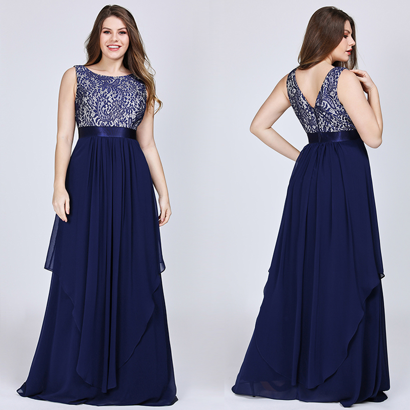 New Arrival Ladies Long Evening Dresses 2020 Elegant Sleeveless O-Neck Lace Plus Size Formal Gowns Chiffon A-line Robe De Soiree