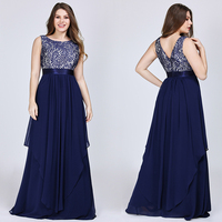New Arrival Ladies Long Evening Dresses 2019 Elegant Sleeveless O Neck Lace Plus Size Formal Gowns Chiffon A line Robe De Soiree