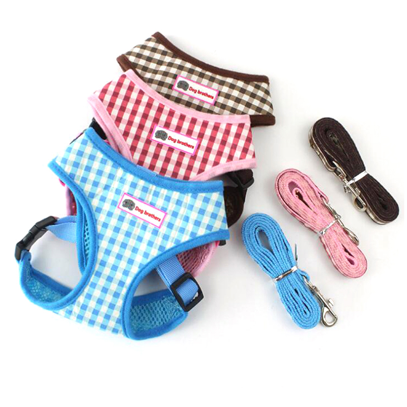 Cute Grid Pet Puppy Dog Harness Leash Set Walking Dog Vest Pink Blue Chest Strap For Small Dogs S M L Size