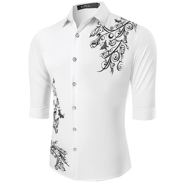 2017 spring new fashion men shirt middle sleeve brand clothing quality cotton Polyeste Printing shirt men casual male shirt