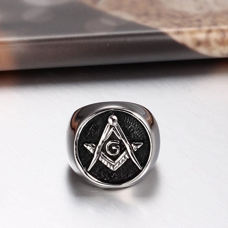 316L Stainless Steel Cincin Masonik Untuk Pria, Master Masonik Cincin - Perhiasan fashion - Foto 5