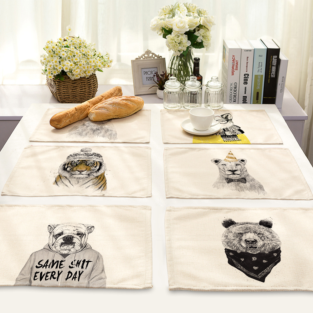 US $5.32 50% OFF|CAMMITEVER Bear Tiger Dog Wolf Lion WIld Animal Cartoon  Charactor Kitchen Decor Dining Table Mat Pads Bowl Pad Coasters-in Mats &  ...