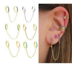 925 prata esterlina duplo mini pequena huggie hoop com borla corrente brinco para 2 piercing moda feminina jóias