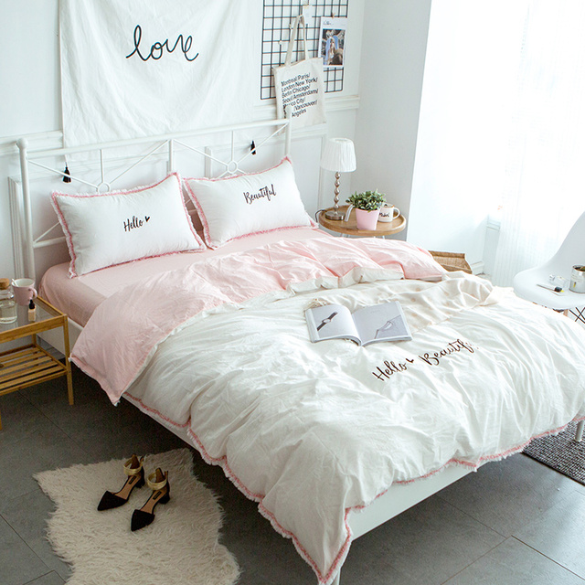 Cilected Hello Beautiful Embroidery Bedding Set 100 Cotton White Pink 4pcs Duvet Cover Flat Sheet Pillow Cases Princess Gift