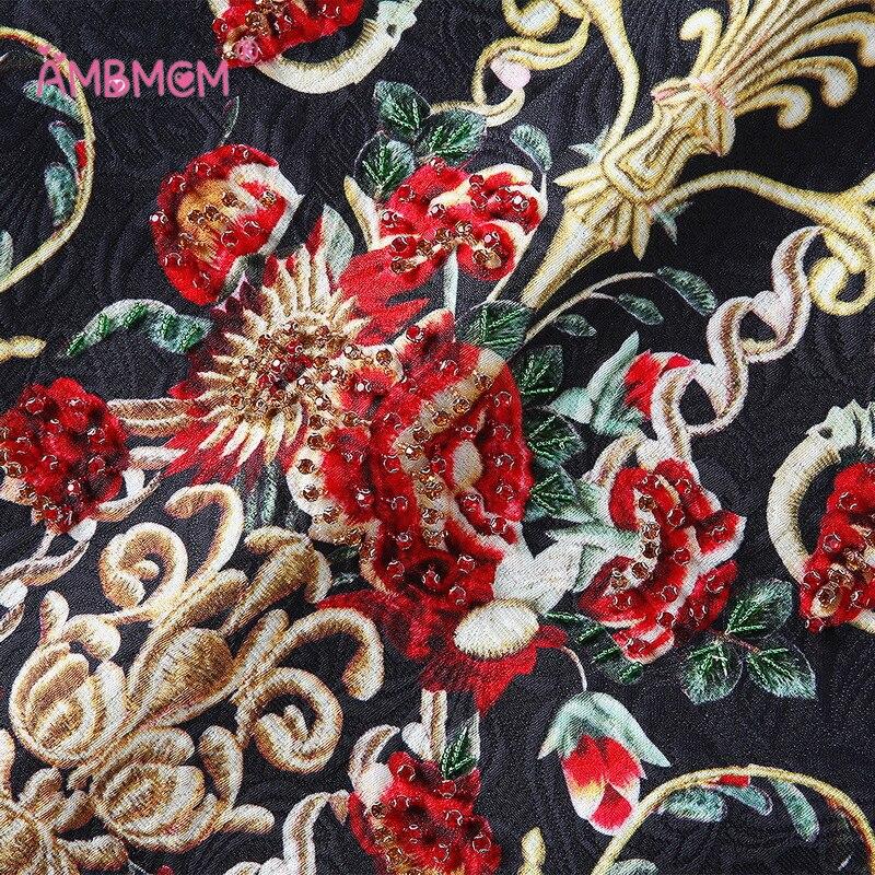 Haute Veste Tops Noir Court Automne 3d 2018 Femmes Broderie De Jupe Deux Pièces Qualité Perles 2 Floral Imprimé Ensemble rose Fleur wBHqnIOH46