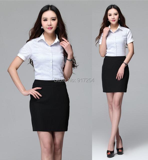 2015 Estilo Formal Das Mulheres de Negócio Ternos Uniforme de Verão Conjunto Saia e Blusa Para O Office Ladies Shirts Tops Blusas Frete Grátis