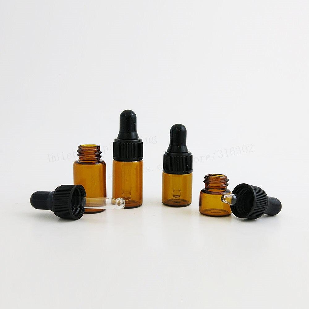 100 x Top Quality 1ml 2ml 3ml Mini Cute Amber Small Glass Dropper Bottles Jars Essential Oil Perfume tiny portable bottles Vialsportable perfume bottleperfume oil bottlesoil perfume bottles -