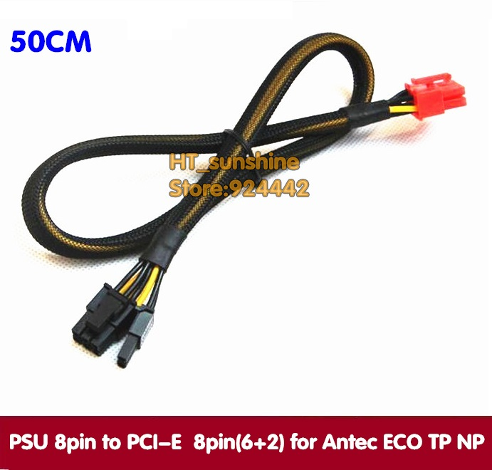 PCIe Video Graphics Card modular power cable 50cm PSU 8 pin to PCI-E PCI Express 8pin 6+2pin CORD for Antec ECO TP NP Series 2pcs lot dual pci e pcie graphics video card 8pin 6 2pin splitter power cable cord with terminal for rig miner 12awg 16awg