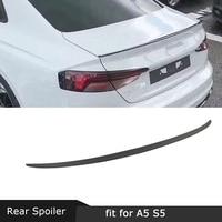 Carbon Fiber Rear Spoiler Boot Lid Trim Wings For Audi A5 S5 Sedan Spoiler 2017 2018 2019 Car Styling