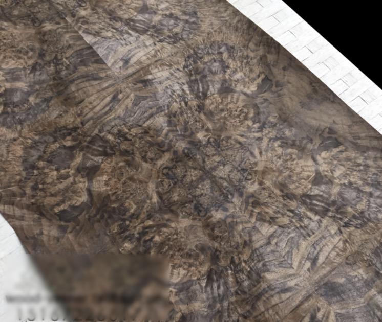 Length: 2.5 Meters  Width: 55cm Thickness:0.3mm Luxury Hotel House Black Walnut Burl Splice Wood Veneer (back Side:Kraft Paper)