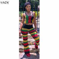 VAZN Design spécial 2018 nouveau Style populaire 2 pièces femmes ensemble rayé Spaghetti sangle sans manches Long pantalon ALS030