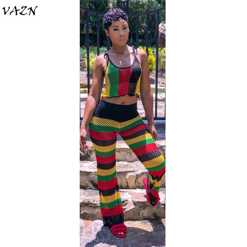 VAZN Special Design 2018 New Popular Style 2 Piece Women Set Striped Spaghetti Strap Sleeveless Long Pant ALS030