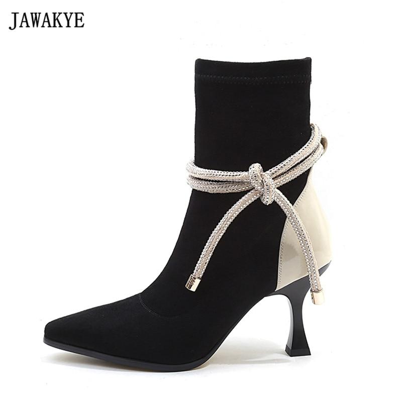 купить Fashion beige black pointy toe high heels short boots suede bandage shoes 2018 spring autumn ankle boots for women bota feminina по цене 4079.85 рублей