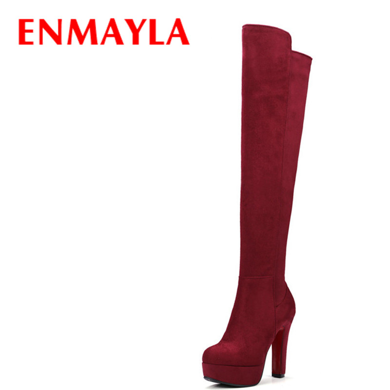 ENMAYLA High Heels Over-the-knee Boots for Women Faux Suede Thigh High Platform Boots Black Red Winter Shoes Woman Long Boots enmayla autumn winter chelsea ankle boots for women faux suede square toe high heels shoes woman chunky heels boots khaki black