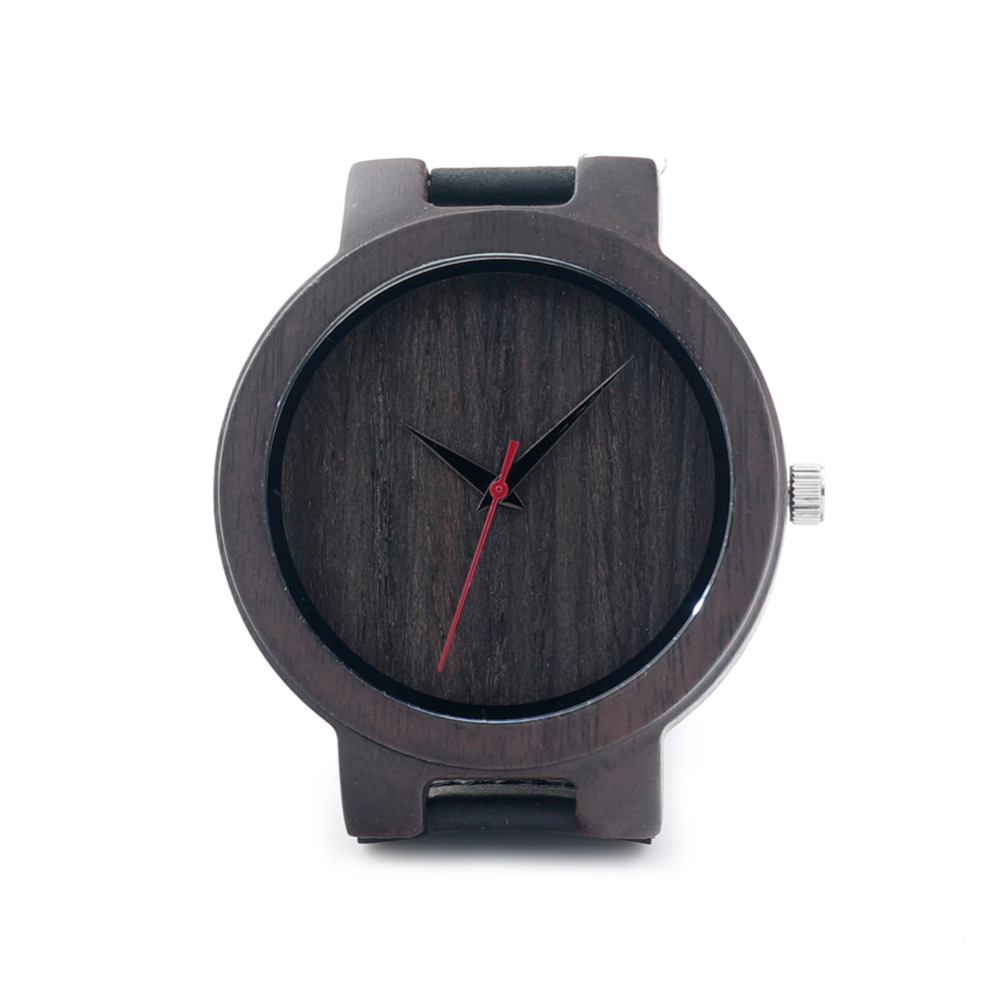 Handmade Luxury Black Sandalwood Watch For Mens Gifts With Fashion Genuine Leather Band Good Quality Movement