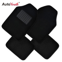 AUTOYOUTH Black Carpet Car Floor Mat Universal Fit Mat For Car SUV Van Trucks Front Rear