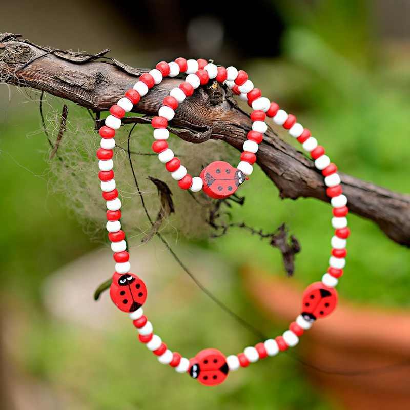 TopHanqi สีแดงลูกปัดไม้เครื่องประดับหญิงชุดน่ารักสัตว์แมลงเด็กสร้อยคอสร้อยข้อมือชุดวันเกิด PARTY เครื่องประดับของขวัญ