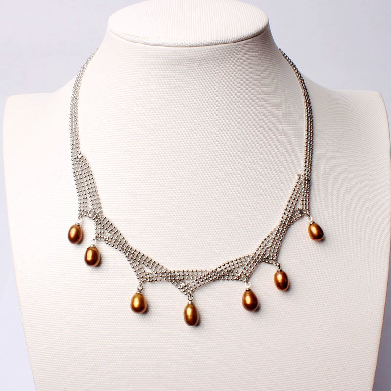 Free Shipping Pretty 7-9mm Brown Color Natural Freshwater Pearl White Gilded Necklace Jewelry 17 w2420