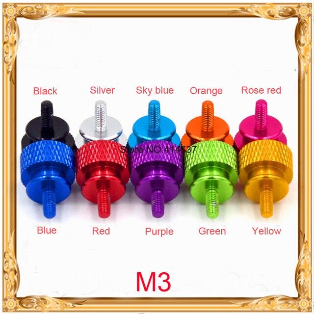 20pcs/lot  M3 Aluminum Alloy Colourful Step Hand Tighten Screw Length 7mm-50mm