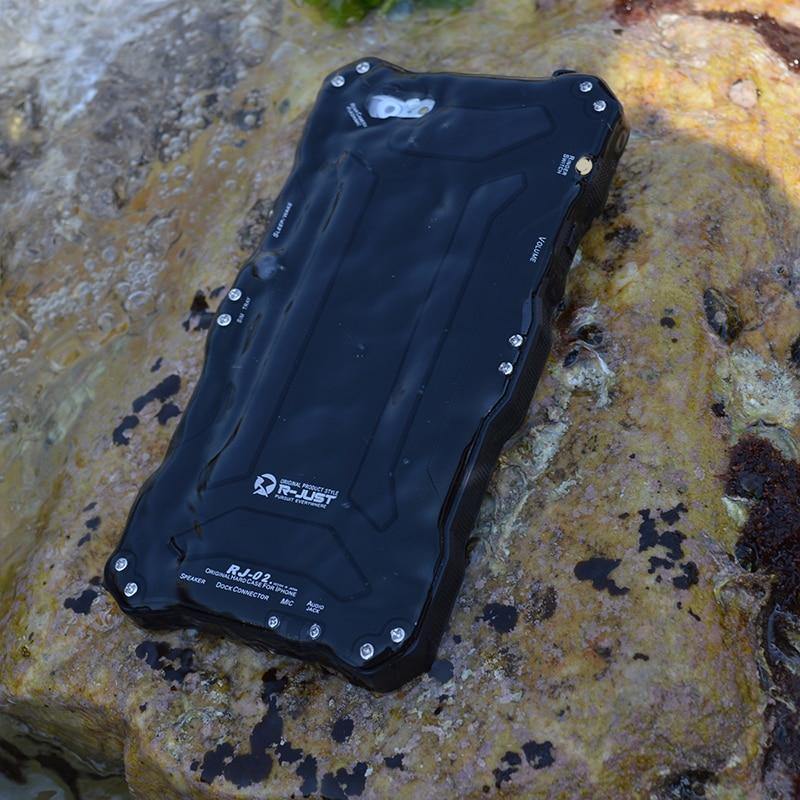 imágenes para Amira r-sólo cajas del teléfono de lujo de aluminio vidrio templado buceo natación ip68 impermeable case cover para iphone 6 6s/6 6 s más