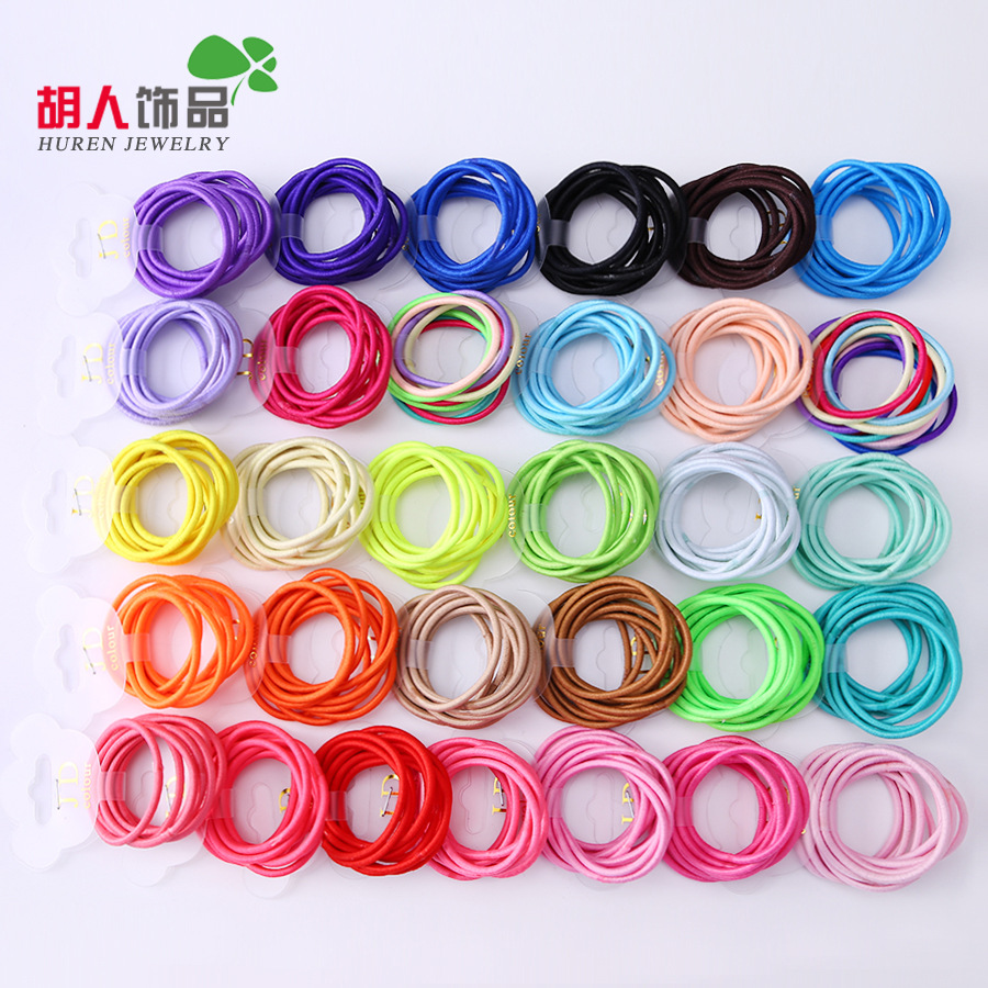 Wholesale 50 Pcs Candy Color Headband Solid Hair Ropes Ponytail Holders Rubber Elastic Hair Band Hair Accessories for Girls 50 pcs lot 3cm candy colour basic rubber band children kids elastic hair band baby girls hair rope accessories