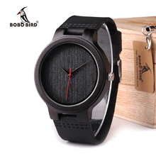 BOBO BIRD WC22 Ebony Wood Watch With Red Pointer Leather Ban