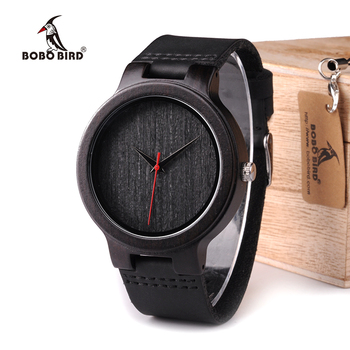 BOBO BIRD WC22 Ebony Wood Watch With Red Pointer Leather Band Japan Miyota 2035 Movement Quartz Watches For Men Women Quartz Watches