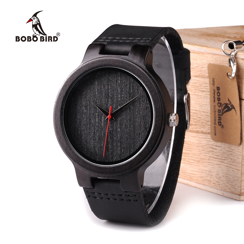 BOBO BIRD WC22 Ebony Wood Watch With Red Pointer Leather Band Japan Miyota 2035 Movement Quartz Watches For Men Women