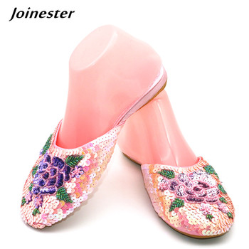 Ladies Sequins Slippers Women Outdoor Flat Slipper Silk and Satin Home Shoe Sparkling Fashion Mules Woman Vintage Summer Slides