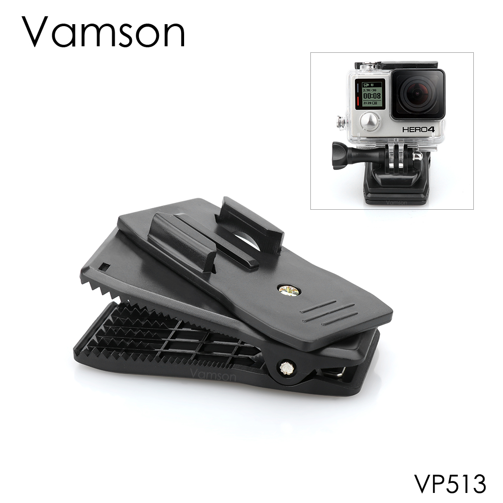Vamson for GoPro 360-Degree Rotation Backpack Clip Fast Clamp Mount for Hero 4 3+ 4 for Xiaomi for yi for SJCAM for SJ4000 VP513 светодиодный светильник точечный navigator 94 838 ndl p1 25w 840 wh led аналог downlight клл 2х26 4607136948389 256467