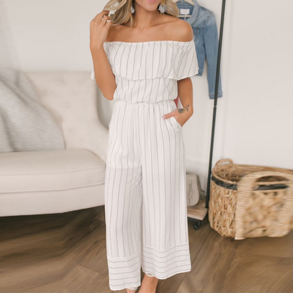 Fashion Women Casual Off Shoulder Short Sleeve Stripe Ruffles Loose Jumpsuit jumpsuit women combinaison femme bodys para mujer