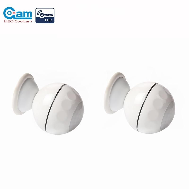 NEO COOLCAM 2pc/lot Z-wave Plus PIR Motion Sensor Detector Home Automation Power Operated Z wave Alarm System Motion Sensor