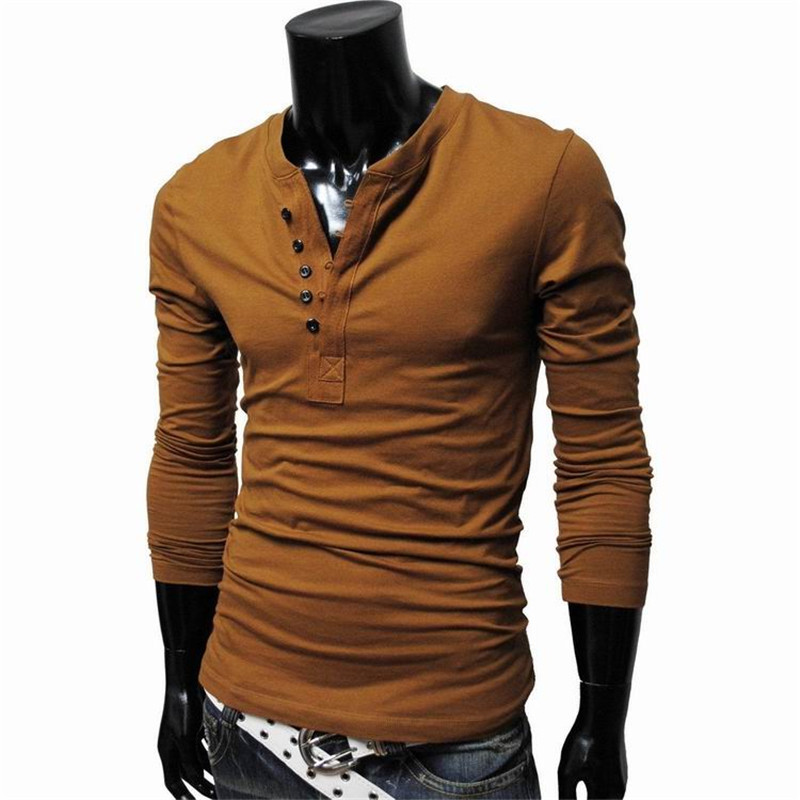 Compare Prices on Long Sleeve T Shirt Decorative Buttons Men ...