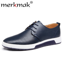Merkmak Leather Men Casual Shoes Summer Breathable Holes Male Dress Sho