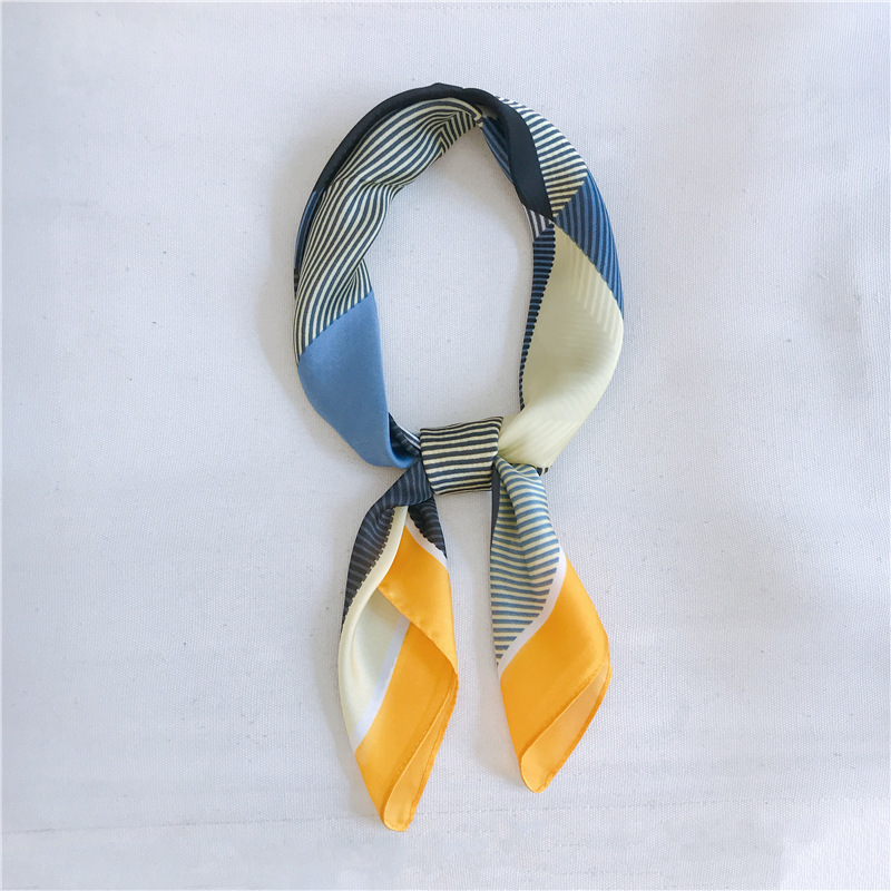 Luna&Dolphin Hair Band Square Scarf 70*70 Geometric Blue Yellow Chiffon Silk Neck Scarves Elegant Strip Vintage Headband Bandana