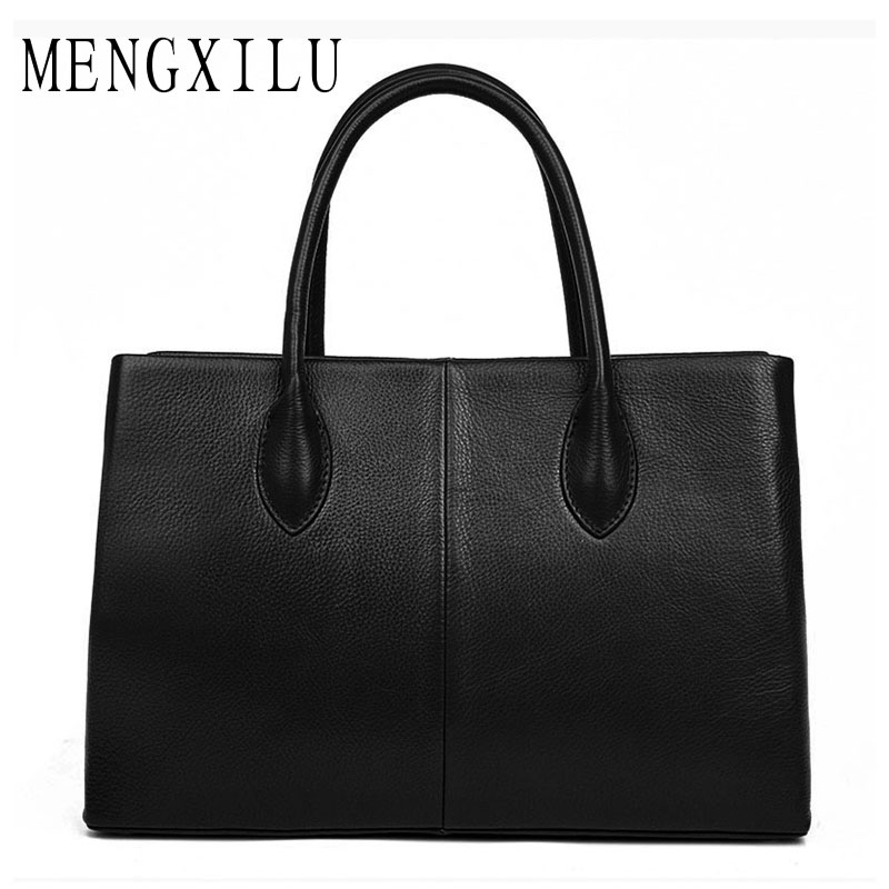 MENGXILU Genuine Leather Bags For Women Bag Laides Casual Tote Bag With Top-Handle High Quality Real Leather Business Handbags kzni real leather tote bag high quality women leather handbags top handle bags purses and handbags bolsa feminina pochette 9057